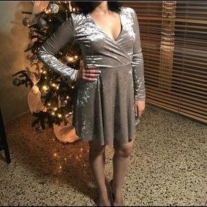Velvet Long Sleeve Skater Dress Forever 21